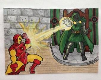 ACEO Original   Iron Man vs. Dr. Doom Artist Sketch Card in Copics (oversized)