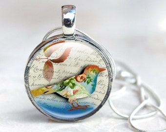 Bird Pendant - Bird Glass Pendant - Bird Pendant Gifts - Glass Bird Pendant (birds 7)
