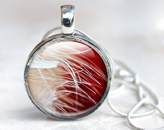 Picture Pendant wearable art Feather Necklace Photo Pendant - Wearable Art Red and White Silver Picture Necklace Photo Pendant