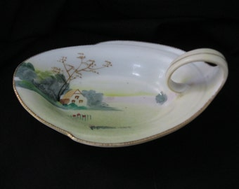Vintage Shabby Chic  Hand Painted Nippon Lemon Server/  Ring or Trinket Dish