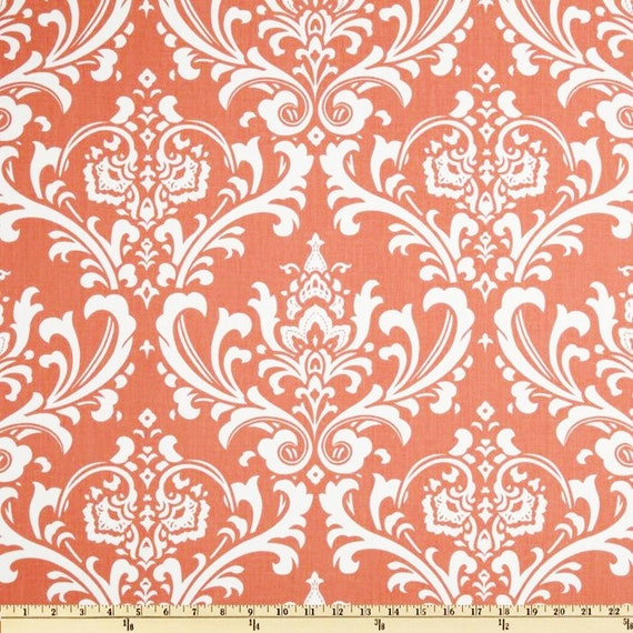 coral damask fabric home decor fabric by the yard by fabricsecret