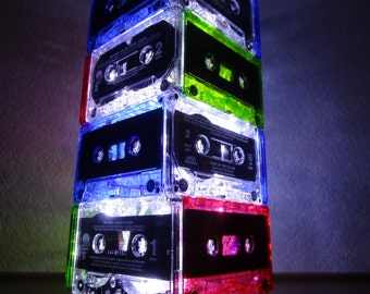 Multi-Colored 4-Tier New Wave 80's Cassette Tape Lamp w/ Battery Powered LED Lights