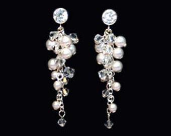 Crystal & Pearl Cluster Bridal Earrings  - Swarovski Crystal, Pearl, Sterling Silver - BSE-217SCZ