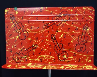 Painted Metal Music Stand with Splatter and Violins