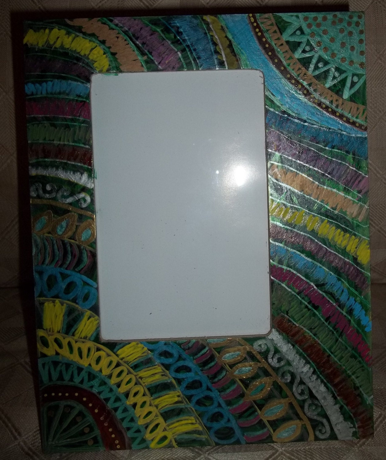 Hand Painted Bohemain Table Or Wall Picture Frame F0046
