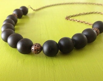 Chunky Black Glass and Copper Beaded Necklace