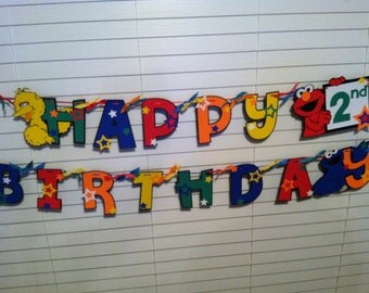 Personalized Sesame Street Happy Birthday Banner with Elmo, Big Bird and Cookie Monster