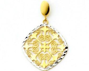 14Kt gold Two-tone Filigree & Fleur-d-lis Pendant