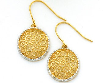 14K gold Filigree Round FH Wire Earrings
