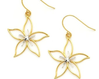 14k gold Two tone cut out Flower Earrings w/ Rhodium accent