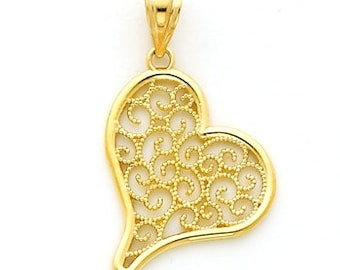 14k Yellow gold Filigree Heart Charm.