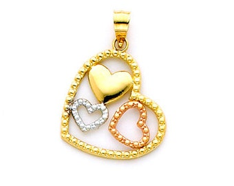 14K Tricolor Yellow, Rose, and White Gold Hearts within a Heart Charm