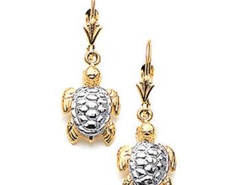2-tone 14kt white & yellow gold sea turtle earring
