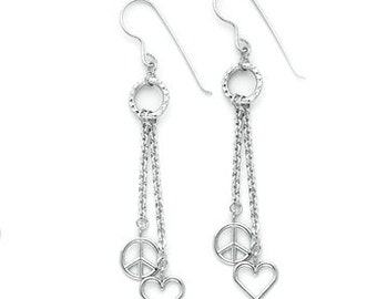 CLOSEOUT! Limited time only.Sterling Silver combination Peace Sign & Heart dangle fish hook earrings.
