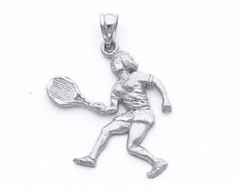 Sterling Silver female tennis player pendant.