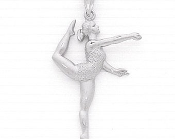 Sterling Silver Female Gymnast Floor Exercise Charm.