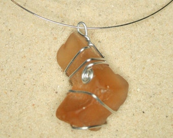 Coral Sea Glass Wrapped with Silver Wire on Memory Wire Necklace 090