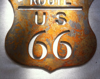 6 Inch Route Rt 66 Shield Rusty Rustic Metal Wall Art Ornament Magnet