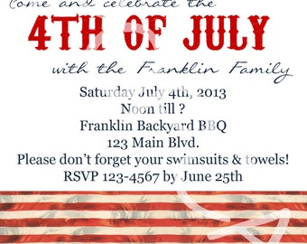 Fourth of July BBQ Family Party Invitation Traditional Style You Print Digital File 4th of July