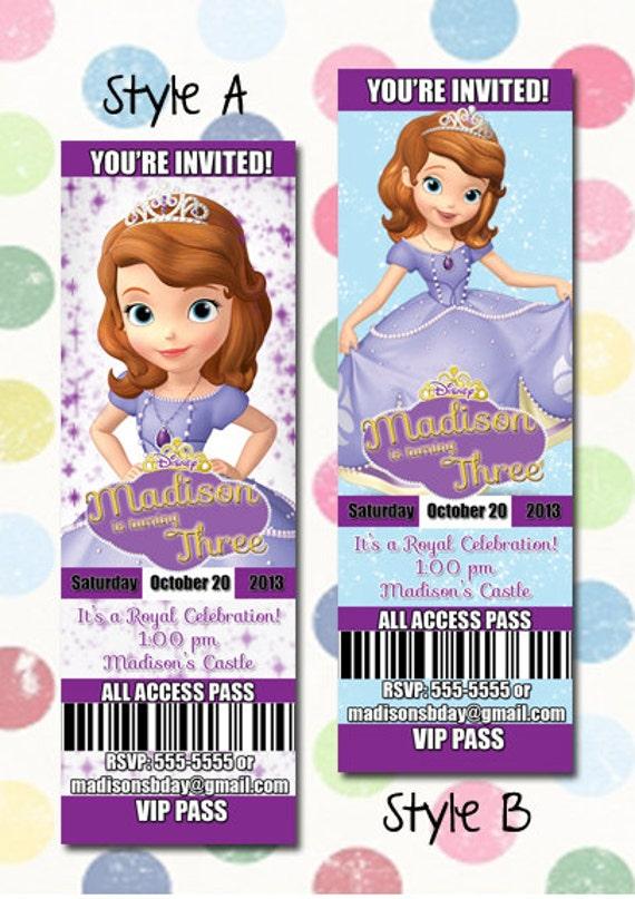 Sofia the first Birthday Party Invitation Ticket Style You – Ticket Style Birthday Invitations