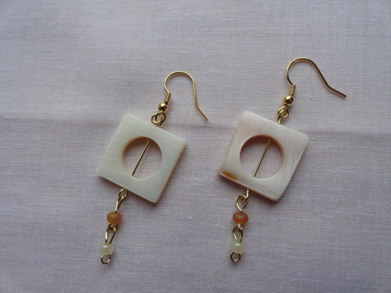 Square Mother of Pearl Charm Glass Beaded Dangle Earrings