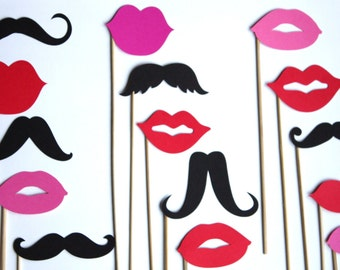 40 PhotoBooth Props- Lips and Mustaches Props and Wedding Props - Photo Props- E