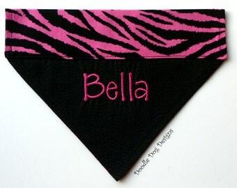 "Personalized Dog Bandana/ Pet Bandana/ Over the Collar Dog Bandana/ ""Pink/Black Zebra Print"""