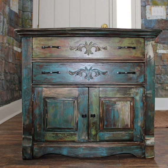 Items Similar To Distressed Paint Vintage Oak Cabinet On Etsy