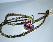 Spiral Hemp Necklace with Floral Glass Pendant