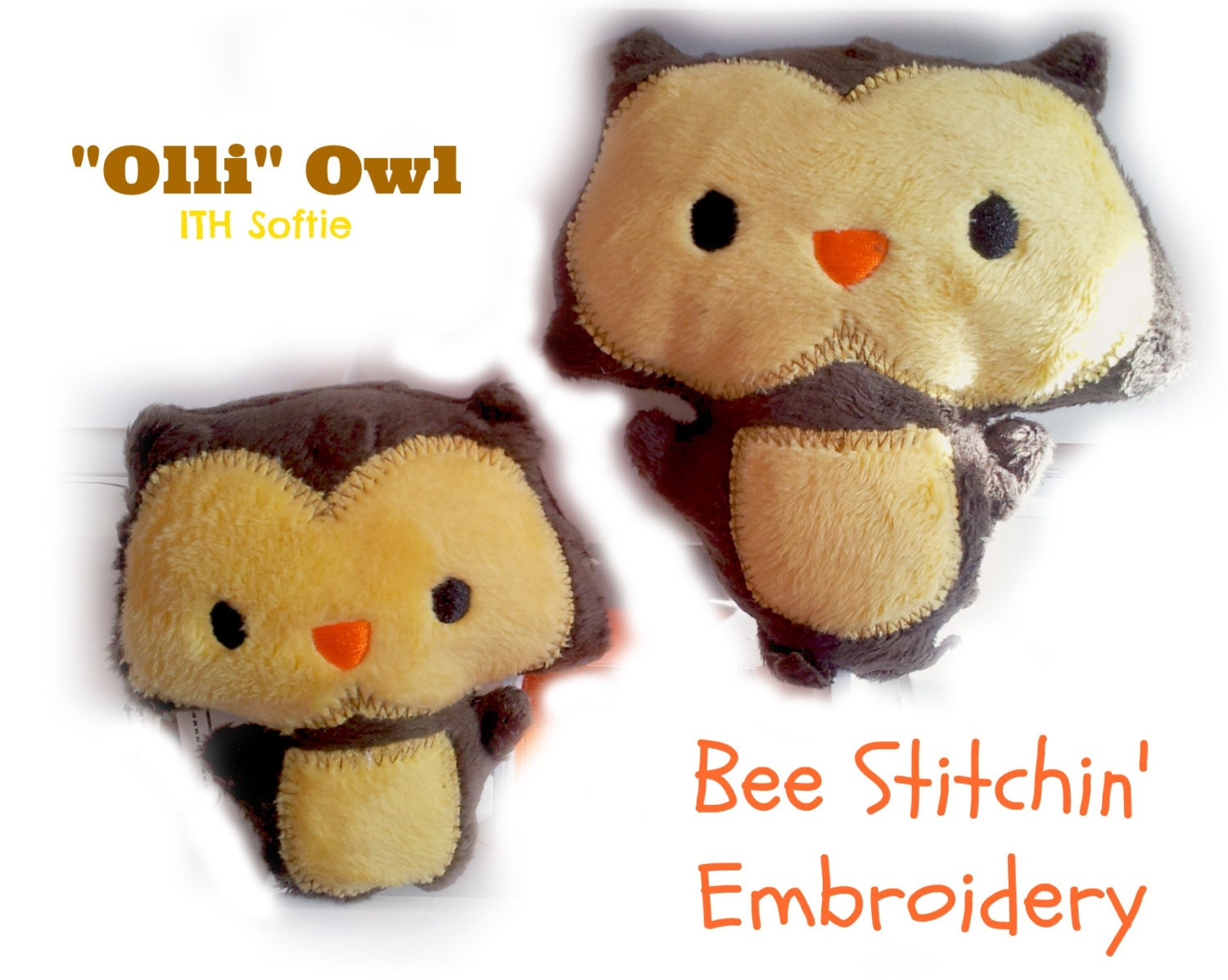 Owl Quot Olli Quot Softie Ith Embroidery Design 2 Sizes Instant