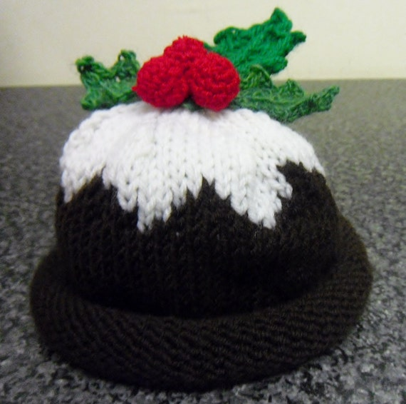 Items similar to Hand knitted Christmas Pudding Hat on Etsy