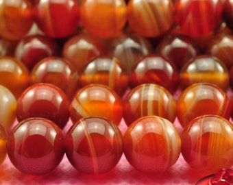 37 pcs of Natural Red Banded Agate smooth round beads in 10mm