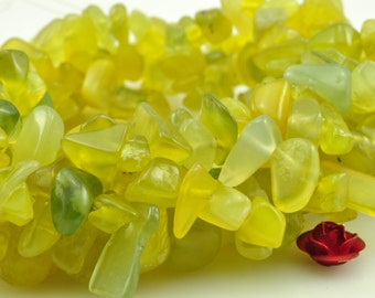 35 inches of  Natural Korean Jade smooth chips beads in 5-10mm