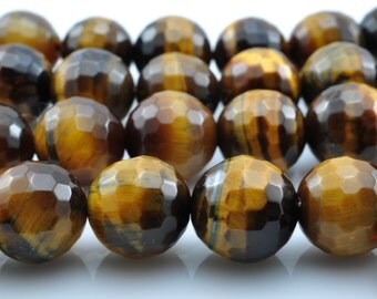 37 pcs of  Yellow Tiger Eye faceted round beads in10mm