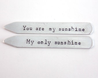 10 year anniversary gift Aluminum, You are my Sunshine - Collar Stay Set - Metal Hand Stamped Custom Initials, gift for husband, men's gift