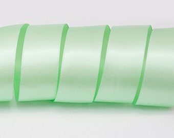 """Pastel Green Ribbon, Double Faced Satin Ribbon, Widths Available: 1 1/2"""", 1"""", 6/8"""", 5/8"""", 3/8"""", 1/4"""", 1/8"""""""