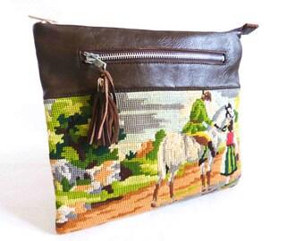 Wallet Leather Brown canvas man on horseback