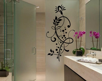 Flower Butterfly Wall Decal Cute Vinyl Sticker Home Arts Floral Wall Decals Swirl  WT047