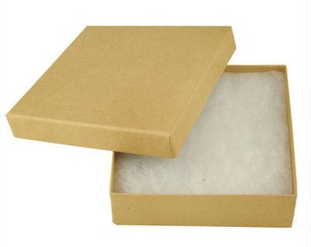 "100 Kraft Cotton Filled  jewelry Gift Boxes Size 3 1/2"" X 3 1/2"
