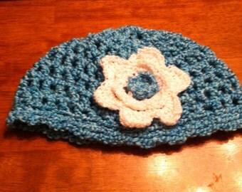 Turquoise Crochet Skullcap with White Flower