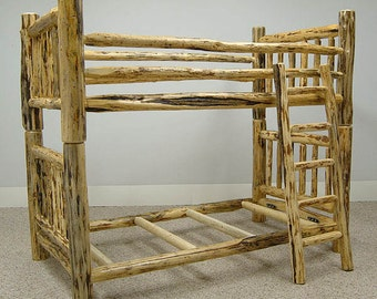 Rustic Mountain Hewn Traditional Log Furniture Bunkbed