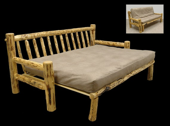 Rustic Mountain Hewn Futon Couch Full Size Bed