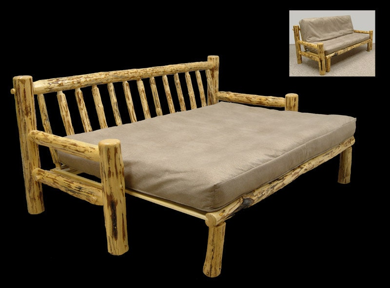 Rustic Mountain Hewn Futon Couch Frame Only