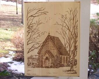 Country Church Woodburning Pyrography