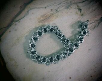 Men's Stainless Steel and Black Inverted Roundmaille Bracelet
