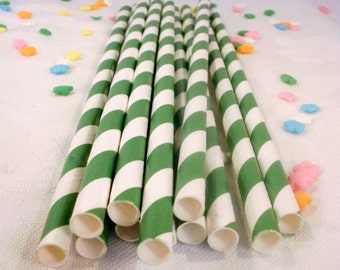 25 Kelly Green Striped Paper Straws