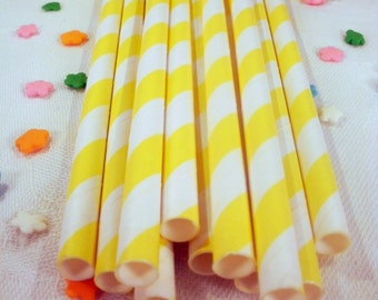 25 Yellow Striped Paper Straws