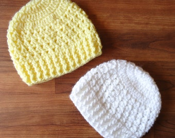 Crocheted Baby Hat Set, Twin Baby Hats Gift Set for Boy or Girl, Choose Your Own Colors, Baby Shower, Newborn to 24 months - MADE TO ORDER