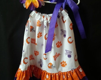 Clemson Dress for Little Girls both A-Line and Pillowcase