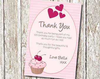 Cupcake Thank you card - Printable and Personalised